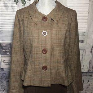Emma James Brown Plaid Blazer Jacket